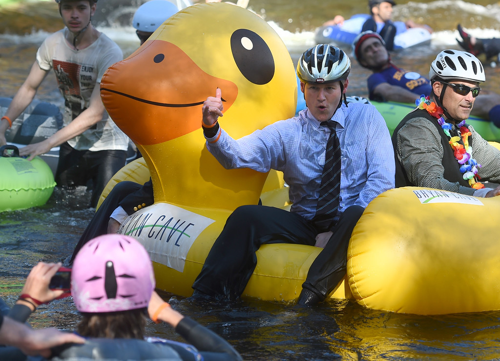 . This man is dressed for success in his rubber ducky  during the 10th Annual Tube to Work Day in Boulder on Friday.For more photos and videos, go to dailycamera.com.  Cliff Grassmick  Staff Photographer July 14, 2017