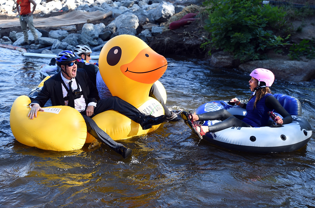 . during the 10th Annual Tube to Work Day in Boulder on Friday.For more photos and videos, go to dailycamera.com.  Cliff Grassmick  Staff Photographer July 14, 2017