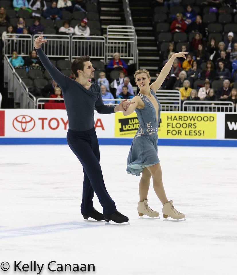 Zach Donohue and Madison Hubbell skate during their free dance in Kansas City.
