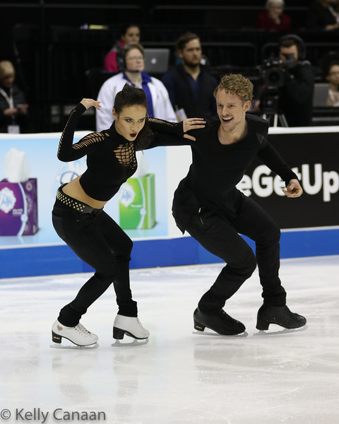 Madison Chock and Evan Bates had some fun in their short dance. Notice the gold heart on her skate. :)