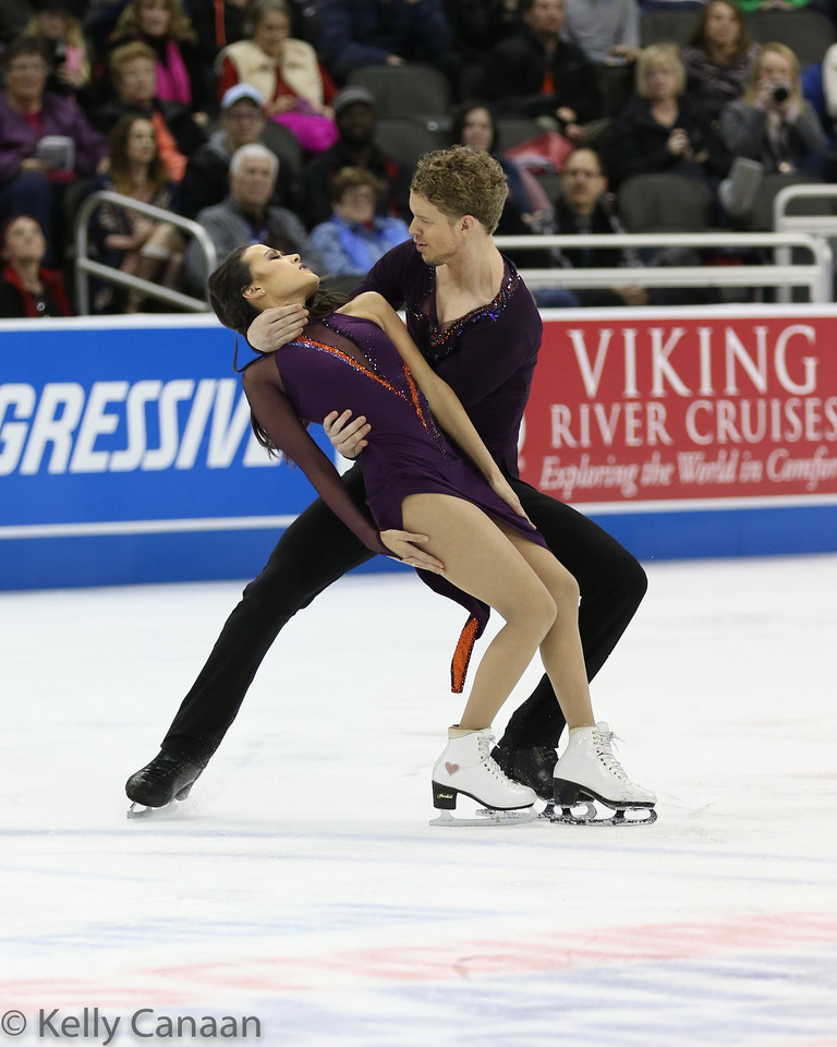 Madison Chock and Evan Bates perform their free dance in Kansas City.