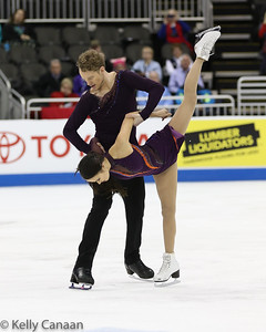 Madison Chock and Evan Bates hold steady during their free dance at the 2017 US Figure Skating Championships. They went on to win silver.