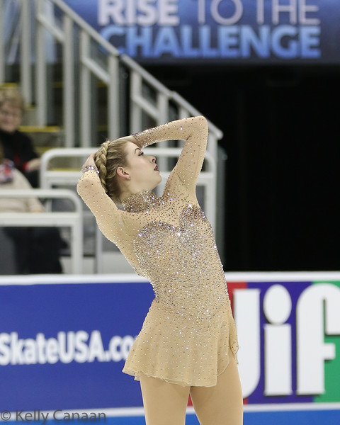 Gracie Gold poses mid-free-skate at the 2017 US Figure Skating Championships.