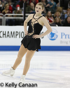 Gracie Gold reacts after her short program in Kansas City.