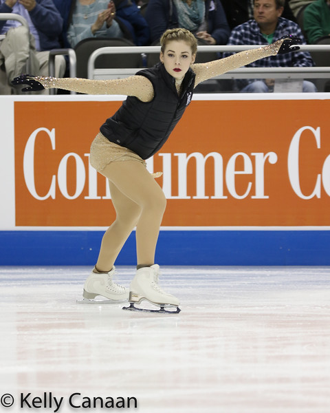 Gracie Gold looks focused as she warms up for her free skate at the 2017 US Figure Skating Championships.