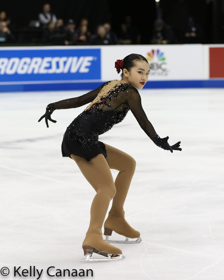 Karen Chen skates during her free skate in Kansas City.