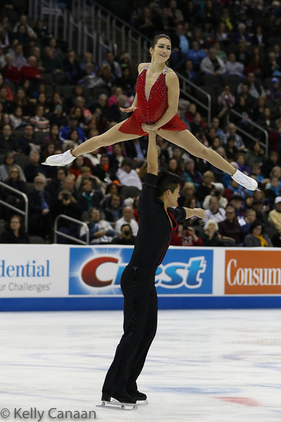 Mervin Tran lifts partner Marissa Castelli. They won the silver medal.