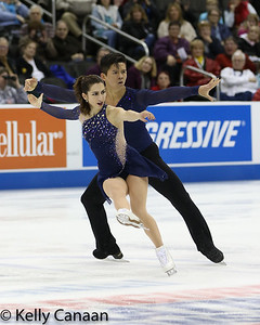 Marissa Castelli and Mervin Tran skate their short program in the pairs' event.
