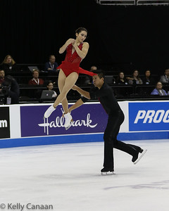 Mervin Tran throws partner Marissa Castelli during the pairs' event in Kansas City. These pairs' girls are tough...