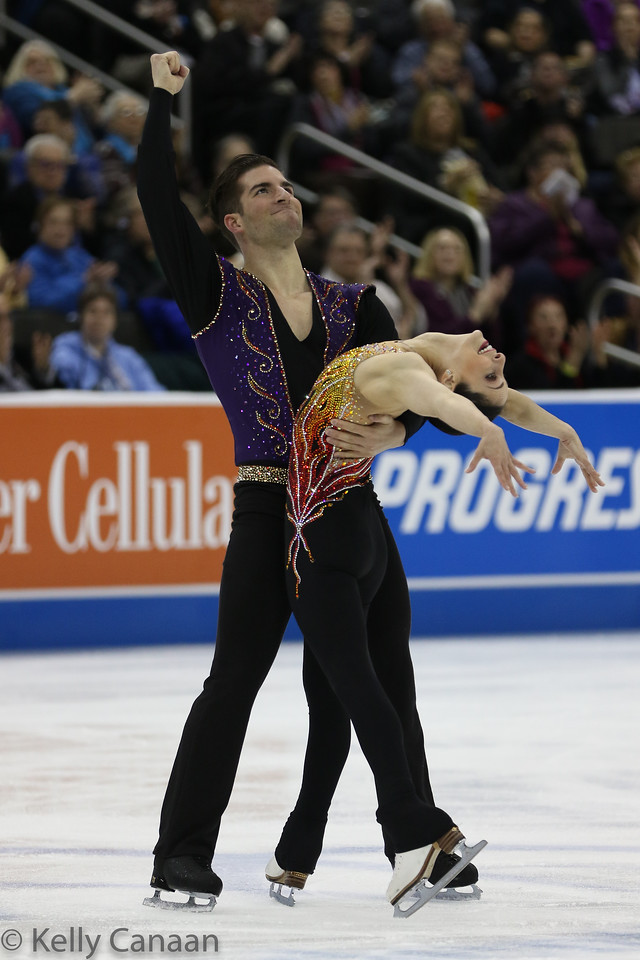 New pairs team Nate Bartholomay and Deanna Stellato-Dudek celebrate a good short program.