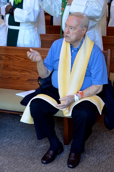Fr. Charles Yost was able to join the community for Mass on Tuesday