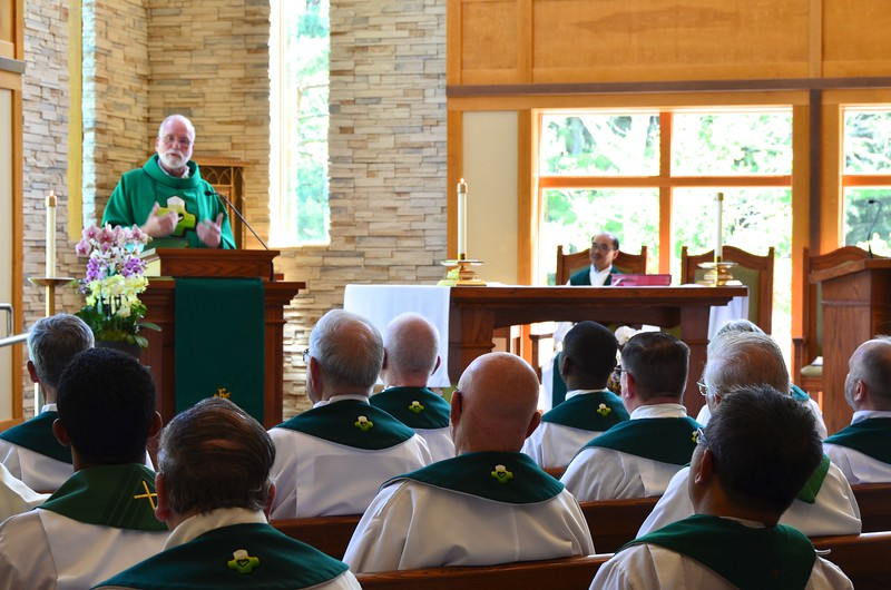 Fr. Ed speaks to the SCJs gathered