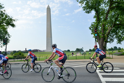 Cyclists join in for a group ride around the nation's capitol following the famous route of Rolling Thunder prior to the 2017 UnitedHealthcare Memorial Challenge event registration. Project Hero, a 501(c)3 non-profit organization, is dedicated to helping Veterans and First Responders affected by PTSD, TBI, illness and injury achieve rehabilitation, recovery and resilience in their daily lives.  Photo by Tiffini Skuce
