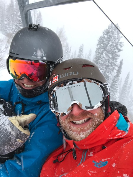 Ryan showing me the ropes at Snowbird!