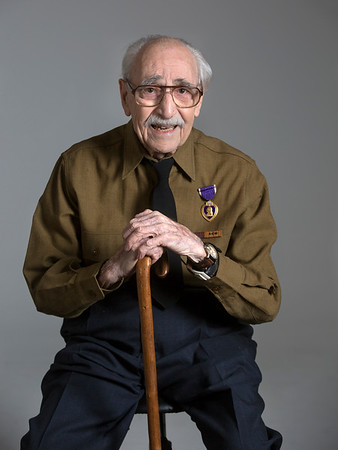 Veteran and Holy Name Medical Center volunteer Herand Kafafian.<br /> U.S. Army 1942-1945<br /> Station: Phillipines<br /> Position: Photographer<br /> <br /> Heron is currently 99 years old and served the US Army from 1942-1945 stationed in the Philippines. He was awarded the Purple Heart for injuries in the invasion of Leyte, under the command of General Douglas MacArthur. <br /> <br /> Photo by Jeff Rhode / Holy Name Medical Center