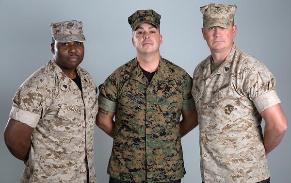 Holy Name Medical Center Veteran Marines (LtoR) Anthony Cooper, Manny Gonzalez, and David Van Bever.