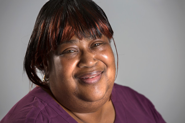 Holy Name Medical Center Communications Specialist Ursula McKinnon<br /> <br /> U.S. Army 1979-1982<br /> Station: Petersburg, VA, Germany, Fort Hood, Texas<br /> Position: Supply Clerk<br /> <br /> <br /> Photo by Jeff Rhode / Holy Name Medical Center