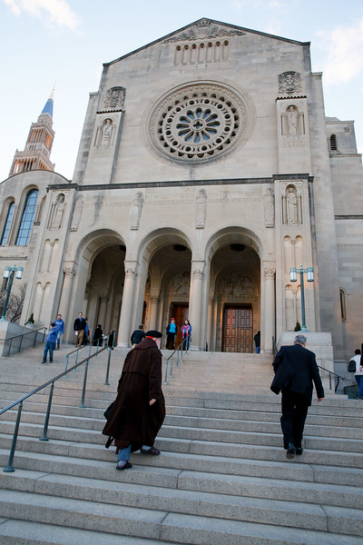 Cardinal Sean O'Malley arrives at the Basilica of the National Shrine of the Immaculate Conception in Washington, D.C. for the Jan. 26 Vigil Mass for Life.<br /> Pilot photo/ Gregory L. Tracy
