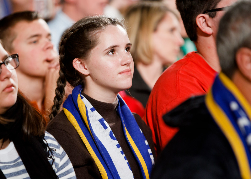 A young woman smiles during the Vigil Mass for Life, held Jan. 26 at the Basilica of the National Shrine of the Immaculate Conception in Washington, D.C. <br /> Pilot photo/ Gregory L. Tracy
