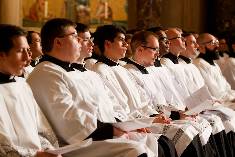 Seminarians take part in the Vigil Mass for Life, held Jan. 26 at the Basilica of the National Shrine of the Immaculate Conception in Washington, D.C. <br /> Pilot photo/ Gregory L. Tracy