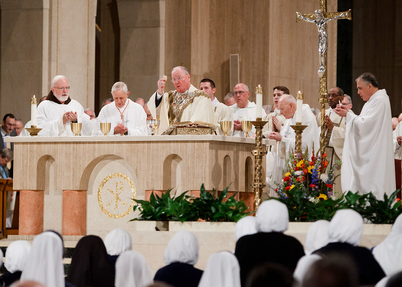 New York Cardinal Timothy Dolan celebrates the Eucharist at the Vigil Mass for Life, held Jan. 26 at the Basilica of the National Shrine of the Immaculate Conception in Washington, D.C. <br /> Pilot photo/ Gregory L. Tracy