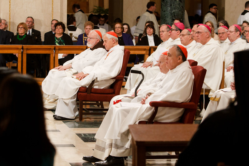 Cardinals and bishops listen as New York Cardinal Timothy Dolan delivers his homily at Vigil Mass for Life, held Jan. 26 at the Basilica of the National Shrine of the Immaculate Conception in Washington, D.C. <br /> Pilot photo/ Gregory L. Tracy