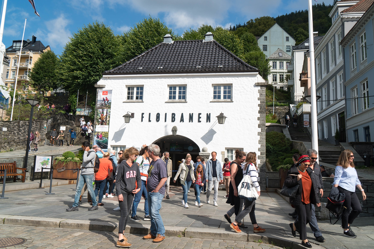 The entrance to the Floibanen, Bergen's Finnicular