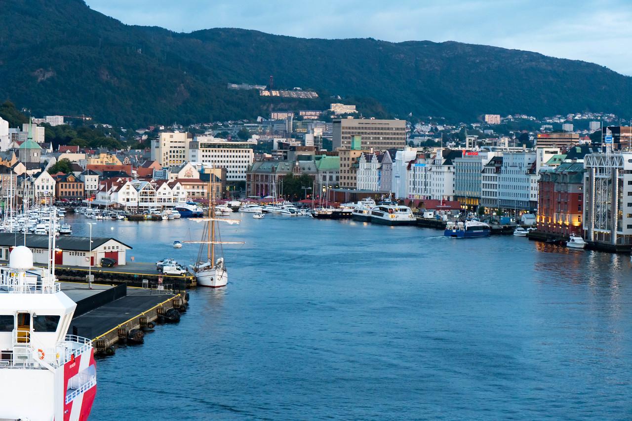 Bergen's harbor at sunset