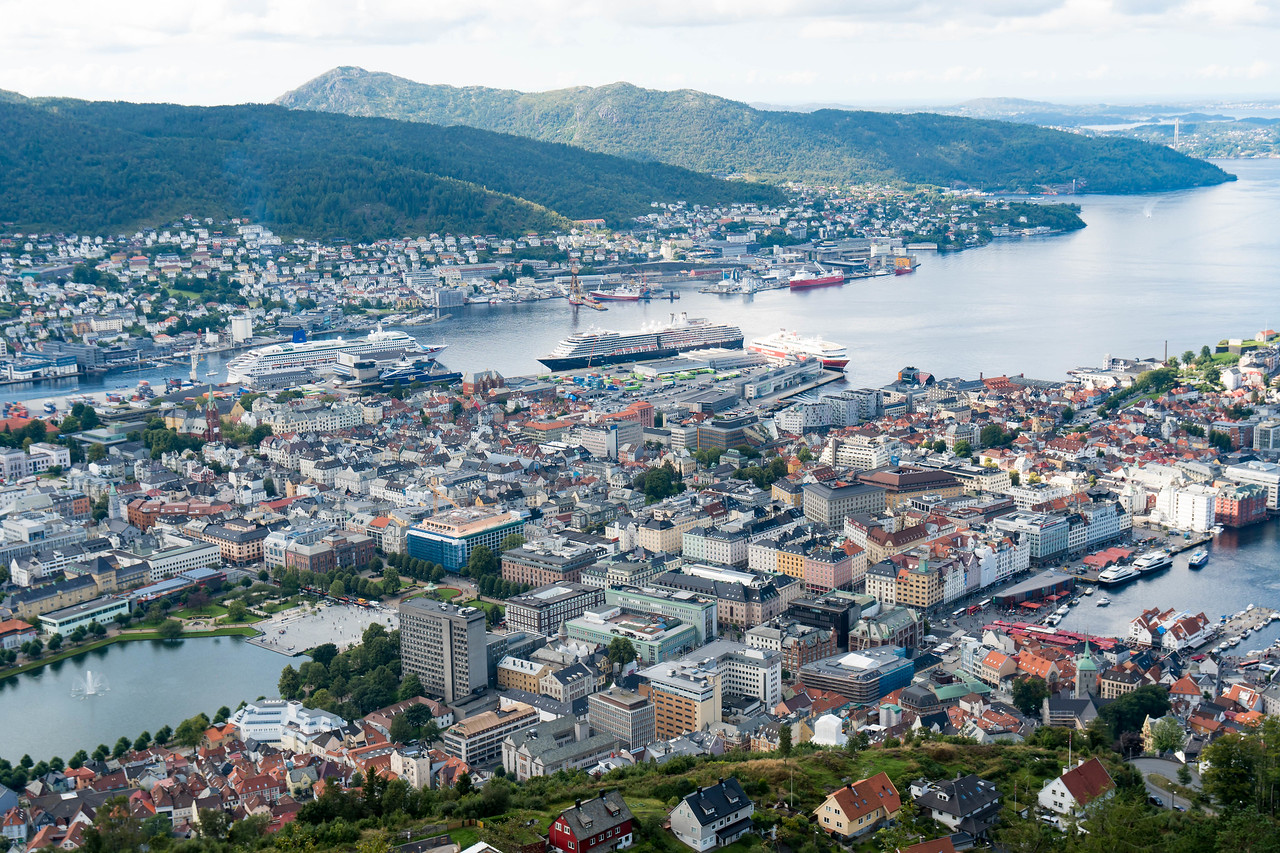 The city center of Bergen with 3 more cruise ships docked