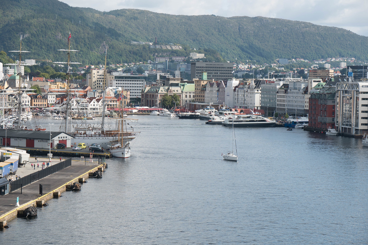 Bergen's  Harbor as seen from the stern of the Viking Star