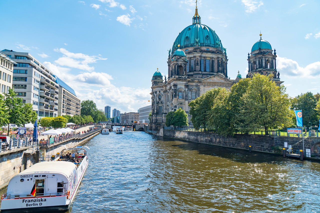 Berlin Cathedral runs alongside the Spree River