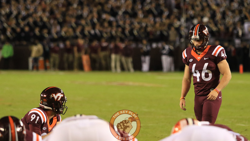 Joey Slye lines up an extra point kick after Virginia Tech's first touchdown of the game. (Mark Umansky/TheKeyPlay.com)
