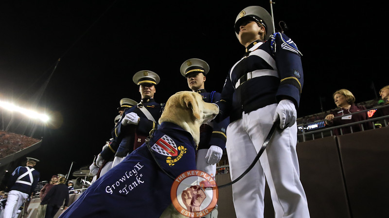 Growley II stands at attention with his cadet handlers on the sidelines before kickoff.