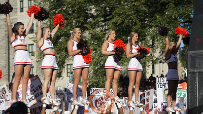 Virginia Tech cheerleaders performed in the background of the GameDay live shots. (Mark Umansky/TheKeyPlay.com)