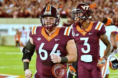 C Eric Gallo, #64 and CB Greg Stroman, #3 during Pre-game warmups