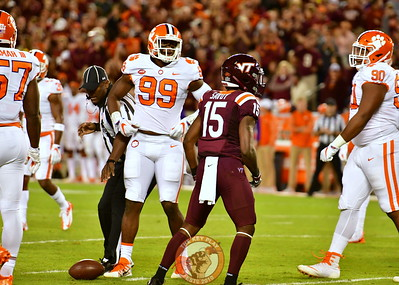 True Freshman, Sean Savoy, #15 in between plays. Savoy scored the Hokies only two TDs tonight! Clearly, size doesn't matter!! (Dan Lohmann/TheKeyPlay.com)
