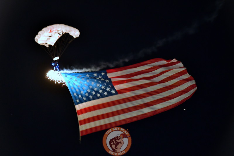The second of three paratroopers to land on Worsham Field tonight prior to Kickoff! it was an Awesome display! (Dan Lohmann/TheKeyPlay.com)