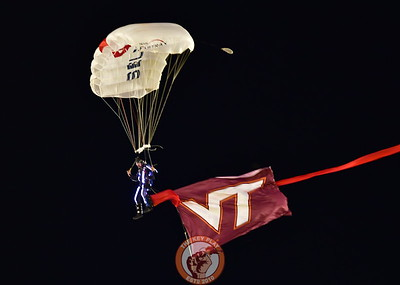The first of three paratroopers to land on Worsham Field tonight, prior to kickoff! it was an Awesome display! (Dan Lohmann/TheKeyPlay.com)