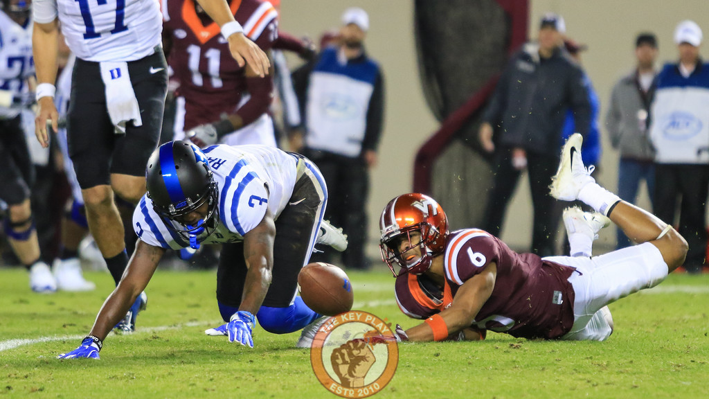 Mook Reynolds (6) reacts after forcing a fumble from Duke's T.J. Rahming. (Mark Umansky/TheKeyPlay.com)