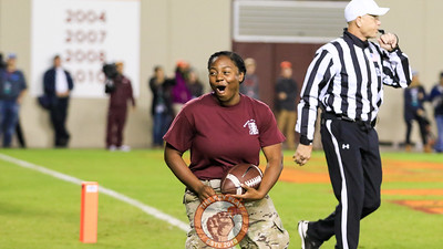 A member of the Corps of Cadets celebrates after catching a touchback through the back of the endzone following a Hokies' kickoff. (Mark Umansky/TheKeyPlay.com)
