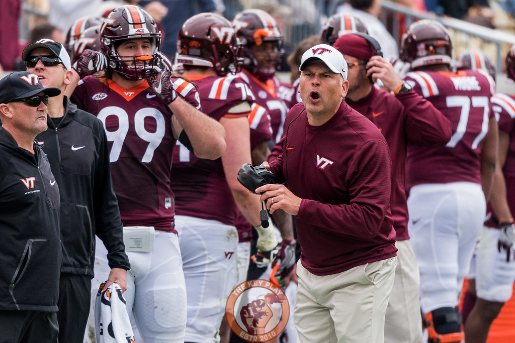 Head coach Justin Fuente yells at officials after a two-point conversion attempt in Saturday's matchup between Virginia Tech and Georgia Tech, Saturday, Nov. 11, 2017. (Special by Cory Hancock)