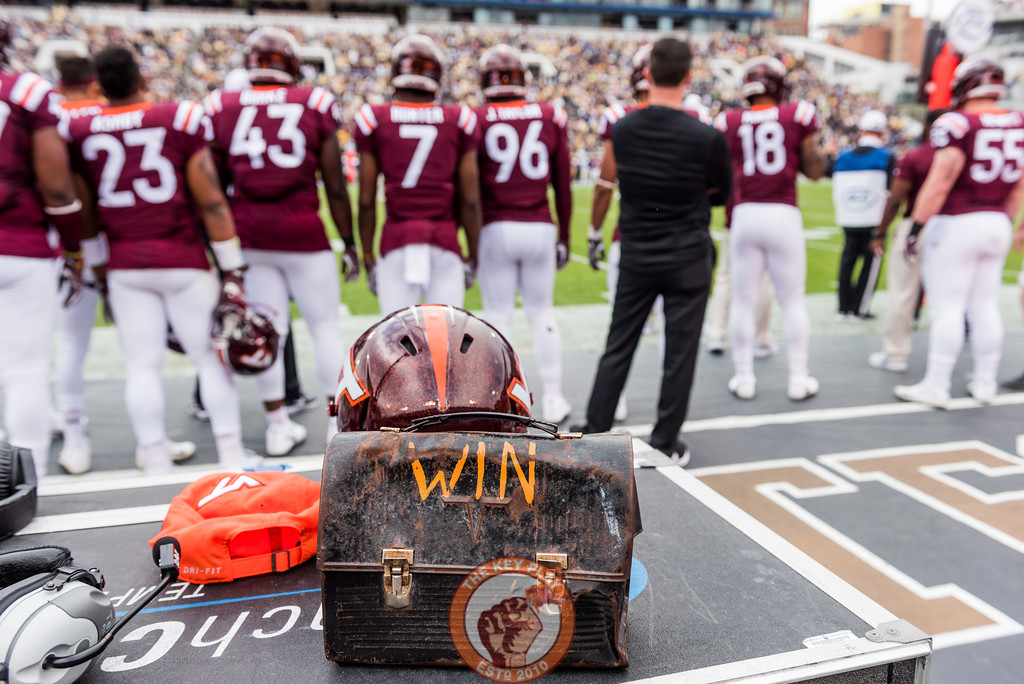 The Lunch Pail sits on the sideline during Saturday's matchup between Virginia Tech and Georgia Tech, Saturday, Nov. 11, 2017. (Special by Cory Hancock)