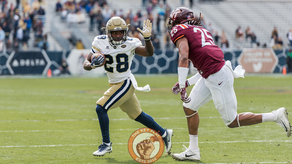Tremaine Edmunds (25) pursues J.J. Green (28) in Saturday's matchup between Virginia Tech and Georgia Tech, Saturday, Nov. 11, 2017. (Special by Cory Hancock)