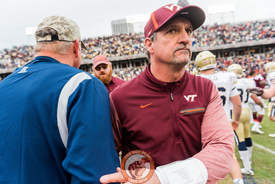 Defensive Coordinator Bud Foster shakes hands with Georgia Tech staff after Saturday's matchup between Virginia Tech and Georgia Tech, Saturday, Nov. 11, 2017. (Special by Cory Hancock) The Hokies fell to the Yellow Jackets 28-22.