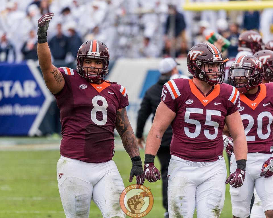 Ricky Walker (8) tries to energize Hokie fans in Saturday's matchup between Virginia Tech and Georgia Tech, Saturday, Nov. 11, 2017. (Special by Cory Hancock)