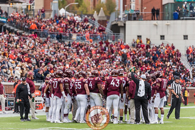 Members of the Virginia Tech defense huddle in Saturday's matchup between Virginia Tech and Georgia Tech, Saturday, Nov. 11, 2017. (Special by Cory Hancock)