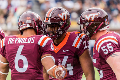 Mook Reynolds (6) celebrates a forced fumble with Anthony Shegog (24) and Jarrod Hewitt (55) in Saturday's matchup between Virginia Tech and Georgia Tech, Saturday, Nov. 11, 2017. (Special by Cory Hancock)