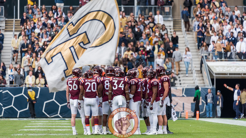 Members of the Virginia Tech offense huddle before a drive in Saturday's matchup between Virginia Tech and Georgia Tech, Saturday, Nov. 11, 2017. (Special by Cory Hancock)