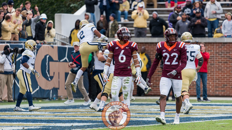 Mook Reynolds (6) and Terrell Edmunds (22) walk off the field after a Georgia Tech touchdown in Saturday's matchup between Virginia Tech and Georgia Tech, Saturday, Nov. 11, 2017. (Special by Cory Hancock)