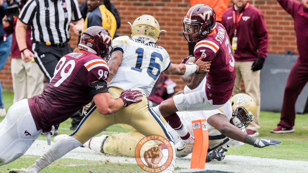 Greg Stroman (3) is tackled into the end zone after an interception in Saturday's matchup between Virginia Tech and Georgia Tech, Saturday, Nov. 11, 2017. (Special by Cory Hancock) The interception gave the Hokies the lead, but proved to not be enough.